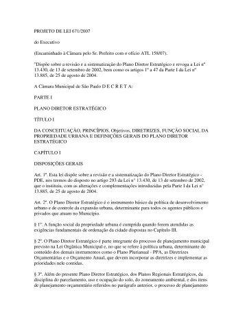 projeto de lei 671/2007 - Rede Nossa São Paulo