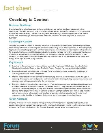 Coaching in Context