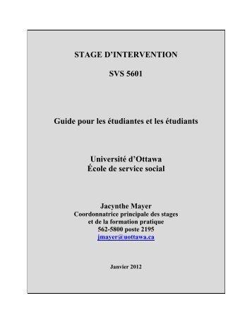 STAGE D'INTERVENTION SVS 5601 Guide pour les étudiantes et ...
