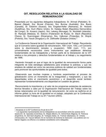 oit, resolución relativa a la igualdad de remuneración - Rama Judicial