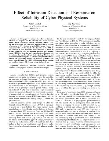 Effect of Intrusion Detection and Response on Reliability of Cyber ...