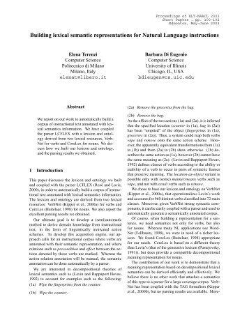 Building lexical semantic representations for Natural ... - CLAIR