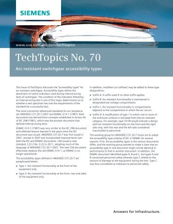 TechTopics No. 70 Arc-resistant switchgear accessibility ... - Siemens