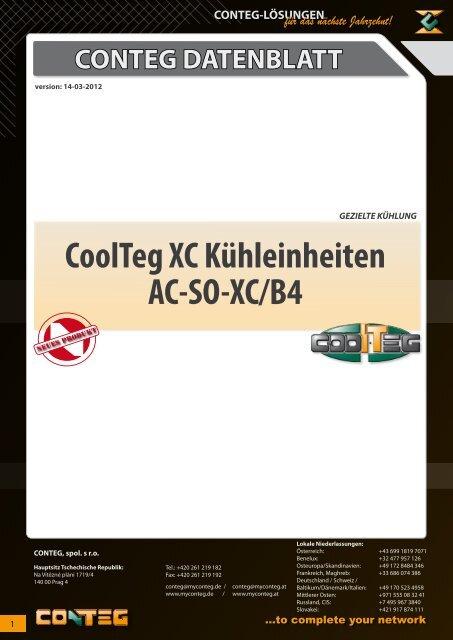 CONTEG DATENBLATT CoolTeg XC Kühleinheiten AC-SO-XC/B4