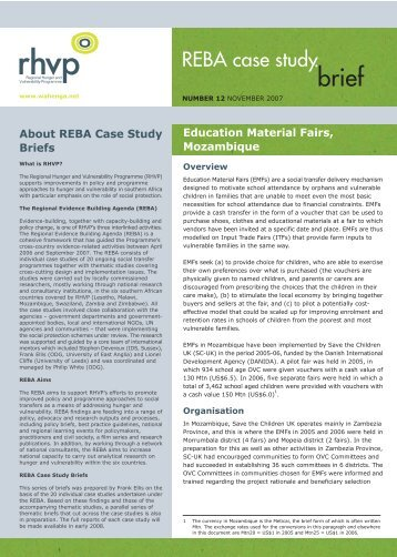 About REBA Case Study Briefs - Africa Platform for Social Protection