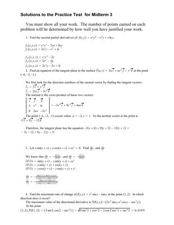 Solutions to the Practice Test for Midterm 3 You must show all your ...