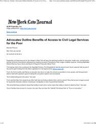 Advocates Outline Benefits of Access to Civil Legal Services ... - NMIC