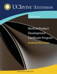 Medical Product Development Certificate Program - UC Irvine ...
