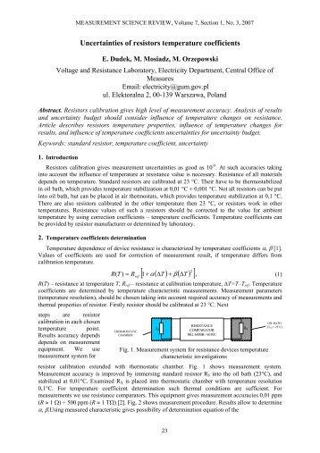Uncertainties of resistors temperature coefficients - Measurement ...