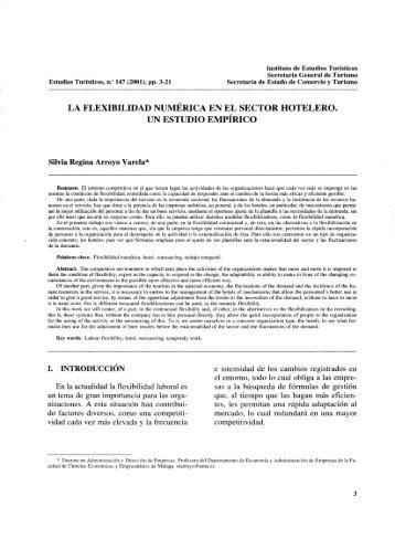 la flexibilidad numérica en el sector hotelero. un estudio empírico