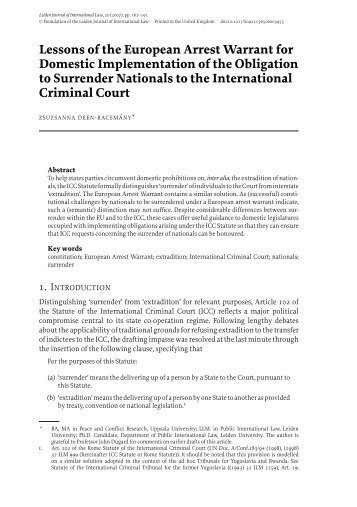 Lessons of the European Arrest Warrant for Domestic ...