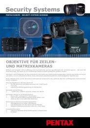 Objektive für Zeilen- und Matrixkameras - Security Systems - Pentax