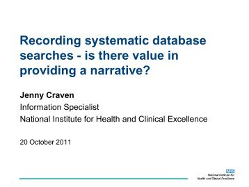 Recording systematic database searches - is there value in ...