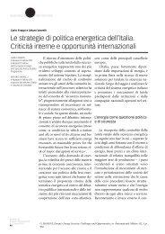 Le strategie di politica energetica dell'Italia. Criticità - Ispi