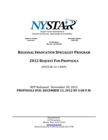 Request for Proposals NYSTAR's Regional Innovation Specialist ...