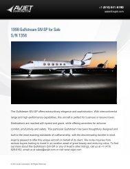 1998 Gulfstream GIV-SP for Sale S/N 1358 - Avjet Corporation