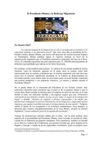 El Presidente Obama y la Reforma Migratoria - Asociación de ...