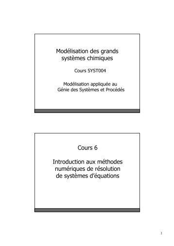 Chapitre 6 : Introduction méthodes numériques - LASSC