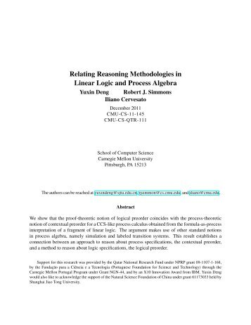 Relating Reasoning Methodologies in Linear Logic and Process ...