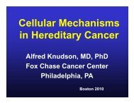 Leopold Koss Lectureship Cellular Mechanisms in Hereditary Cancer