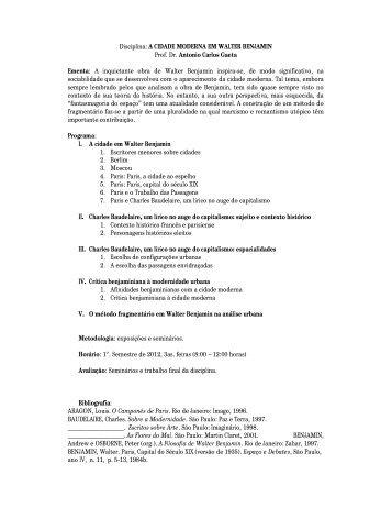 Disciplina: A CIDADE MODERNA EM WALTER BENJAMIN Prof. Dr ...