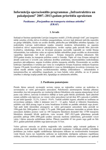 Priekšlikums (Pieejamības un transporta sistēmas attīstība) - ES fondi