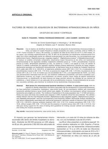 FACTORES DE RIESGO DE ADQUISICION DE BACTERIEMIAS ...