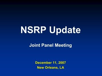 NSRP Update Joint Panel Meeting (SPPT, F&T, BPT & Systems ...