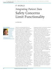Integrating Patient Data - Safety Concerns Limit Functionality