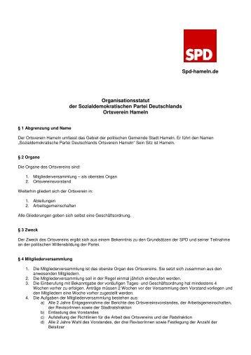 Organisationsstatuten zum Download - beim SPD Ortsverein Hameln