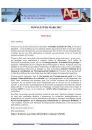 NEWSLETTER MARS 2012 - Académie de l'Entrepreneuriat