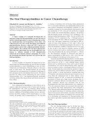 The Oral Fluoropyrimidines in Cancer Chemotherapy