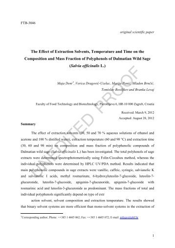 The Effect of Extraction Solvents, Temperature and Time on the ...