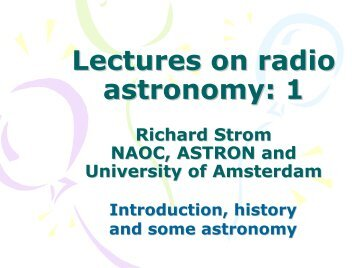 Lectures on radio astronomy: 1