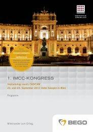 1. IMCC-KONGRESS - NEWSLETTER BEGO