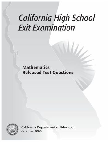 california high school exit exam Take your free, practice cahsee (california high school exit examination) now and begin preparing for your life after high school.