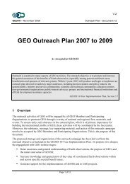 GEO Outreach Plan - Group on Earth Observations