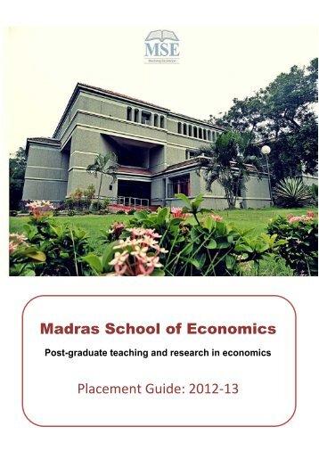 Recruitment Guide 2012-13 - Madras School of Economics