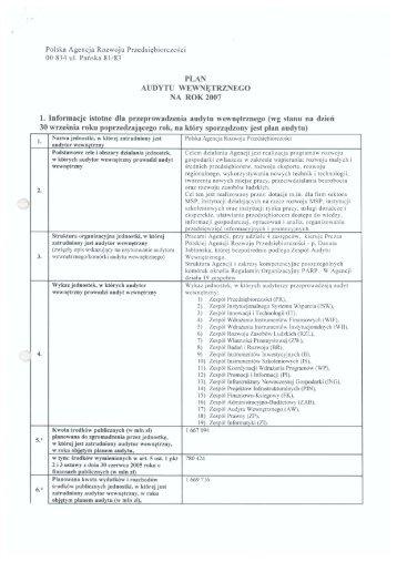 Plan Audytu Wewnętrznego na rok 2007 - Polska Agencja Rozwoju ...