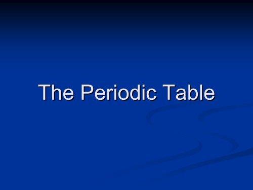 Chapter 12 The Periodic Table - Materialteknologi