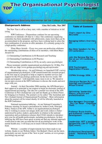 TOP - March 2007 - APS Member Groups - Australian Psychological ...