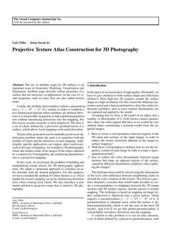 Projective Texture Atlas Construction for 3D ... - Visgraf - Impa