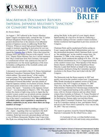 """Sanction"" of Comfort Women Brothels - US-Korea Institute at SAIS"