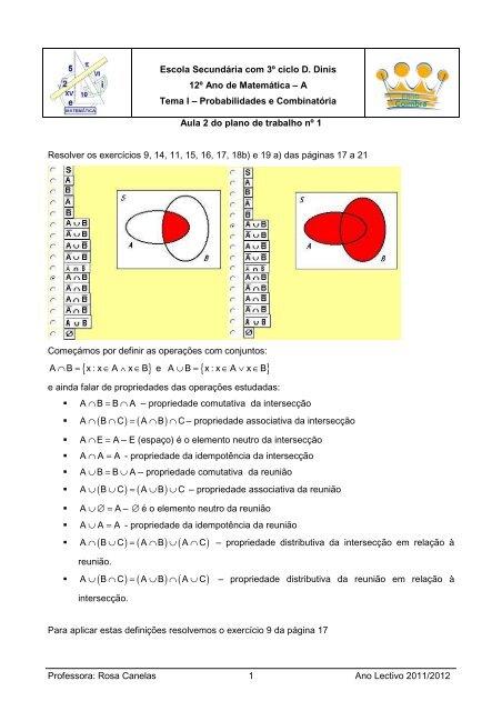 Resolver os exercícios 9, 14, 11, 15, 16, 17, 18b) e 19 a) das ...