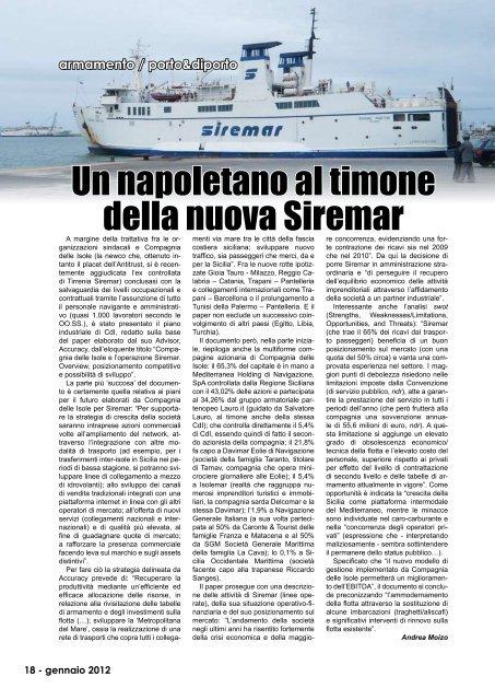 Un napoletano al timone della nuova Siremar - Porto & diporto