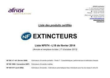 Liste des produits certifiés NF074 - EXTINCTEURS - Marque NF