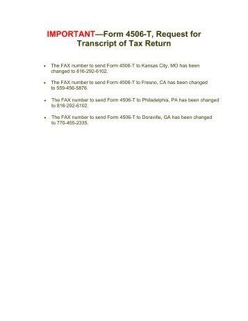 REQUEST FOR TRANSCRIPT OF TAX RETURN- Form 4506-T (Rev ...