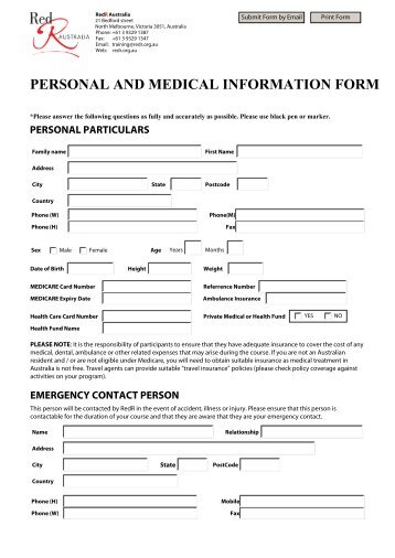 personal contact information form