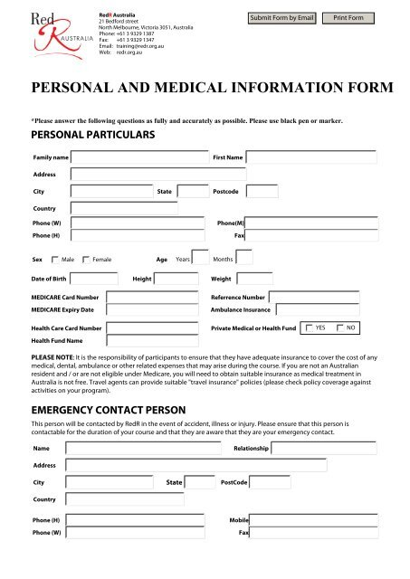 Personal And Medical Information Form The Sphere Project
