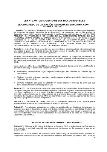 ley n° 2.748. de fomento de los biocombustibles el congreso de la ...